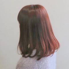 大人かわいい ミディアム ガーリー ベリーピンク ヘアスタイルや髪型の写真・画像