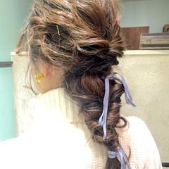 簡単ヘアアレンジ ショート ロング フィッシュボーン ヘアスタイルや髪型の写真・画像