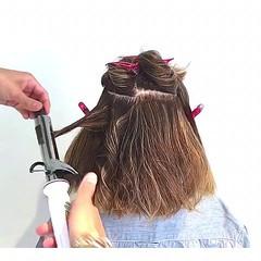 結婚式 巻き髪 アウトドア ボブ ヘアスタイルや髪型の写真・画像