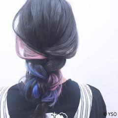 インナーカラー ヘアアレンジ グラデーションカラー セミロング ヘアスタイルや髪型の写真・画像