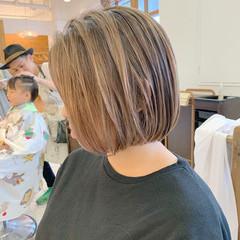 エアータッチ ボブ ハイライト まとまるボブ ヘアスタイルや髪型の写真・画像