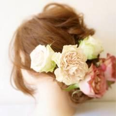 丸顔 結婚式 大人かわいい ロング ヘアスタイルや髪型の写真・画像