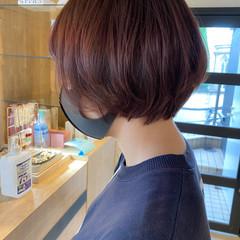ラベンダーピンク レッド ショート ピンクブラウン ヘアスタイルや髪型の写真・画像