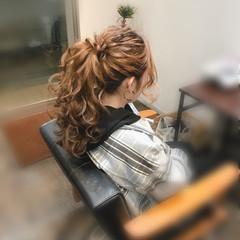 セミロング 結婚式 ポニーテール ヘアセット ヘアスタイルや髪型の写真・画像