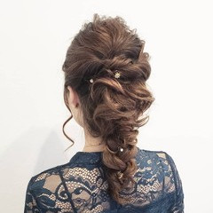 簡単ヘアアレンジ ヘアアレンジ 結婚式ヘアアレンジ セミロング ヘアスタイルや髪型の写真・画像