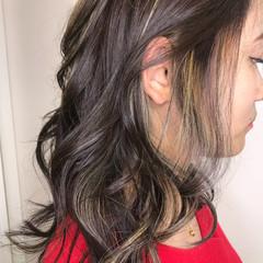 女子力 セミロング ハイライト ヘアアレンジ ヘアスタイルや髪型の写真・画像