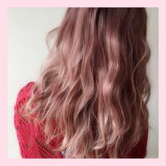 ガーリー セミロング ピンク ブリーチ ヘアスタイルや髪型の写真・画像