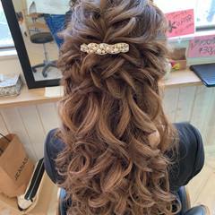 ハーフアップ ロング ゆるふわセット 編み込みヘア ヘアスタイルや髪型の写真・画像