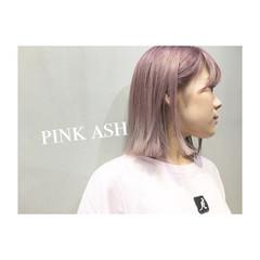 アッシュ ピンク ダブルカラー パープル ヘアスタイルや髪型の写真・画像