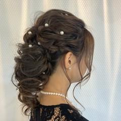 ヘアアレンジ セミロング 結婚式 エレガント ヘアスタイルや髪型の写真・画像