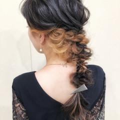 お呼ばれヘア ロング インナーカラー ヘアアレンジ ヘアスタイルや髪型の写真・画像