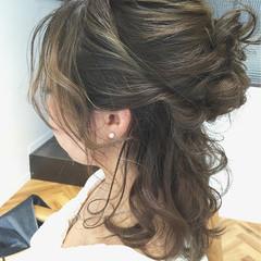 簡単ヘアアレンジ ヘアアレンジ ハーフアップ グラデーションカラー ヘアスタイルや髪型の写真・画像