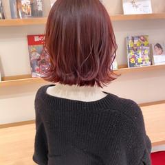 切りっぱなしボブ ピンクバイオレット ナチュラル ピンクブラウン ヘアスタイルや髪型の写真・画像