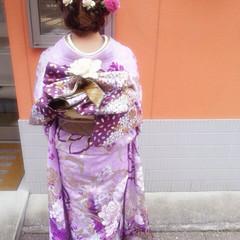 編み込み ロング 花 成人式 ヘアスタイルや髪型の写真・画像