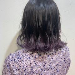 パープルカラー デザインカラー ボブ ガーリー ヘアスタイルや髪型の写真・画像