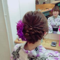 お祭り アップスタイル 花火大会 ミディアム ヘアスタイルや髪型の写真・画像