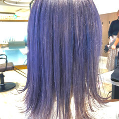 ネイビー 可愛い フェミニン ハイトーンカラー ヘアスタイルや髪型の写真・画像