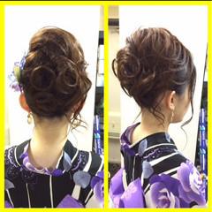 セミロング 和装 ヘアアレンジ 夏 ヘアスタイルや髪型の写真・画像