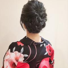 浴衣アレンジ ガーリー 浴衣ヘア セミロング ヘアスタイルや髪型の写真・画像