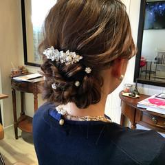 編み込み ヘアアレンジ 結婚式 セミロング ヘアスタイルや髪型の写真・画像