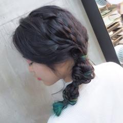 夏 編み込み フィッシュボーン ヘアアレンジ ヘアスタイルや髪型の写真・画像