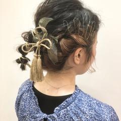 ナチュラル ヘアセット ヘアアレンジ ミディアム ヘアスタイルや髪型の写真・画像