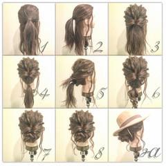 ショート セミロング 簡単ヘアアレンジ 大人かわいい ヘアスタイルや髪型の写真・画像