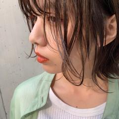 ハイライト アンニュイほつれヘア ボブ グレージュ ヘアスタイルや髪型の写真・画像