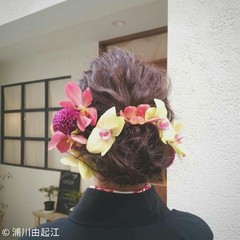 結婚式 ミディアム ヘアアレンジ #春 ヘアスタイルや髪型の写真・画像