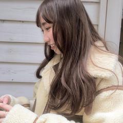 透明感カラー フェミニン ベージュ ロング ヘアスタイルや髪型の写真・画像