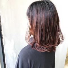 暖色 ナチュラルグラデーション ミディアム グラデーションカラー ヘアスタイルや髪型の写真・画像