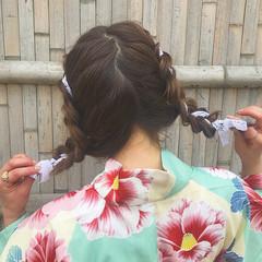 三つ編み 簡単ヘアアレンジ ヘアアレンジ ミディアム ヘアスタイルや髪型の写真・画像