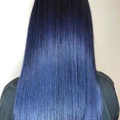 ブルー ネイビー ネイビーブルー ブルーアッシュ ヘアスタイルや髪型の写真・画像