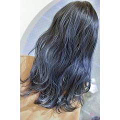 ネイビーカラー モード ネイビーブルー コリアンネイビー ヘアスタイルや髪型の写真・画像