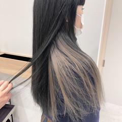ハイライト 極細ハイライト インナーカラー ナチュラル ヘアスタイルや髪型の写真・画像