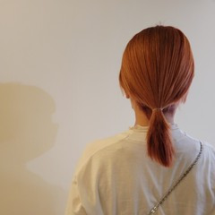 アプリコットオレンジ モード オレンジカラー オレンジ ヘアスタイルや髪型の写真・画像