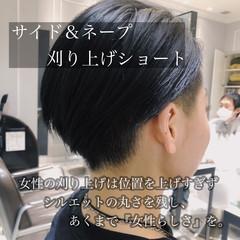 ブルー 刈り上げ ネイビーブルー 刈り上げ女子 ヘアスタイルや髪型の写真・画像