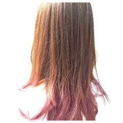 ロング ダブルカラー グラデーションカラー ピンク ヘアスタイルや髪型の写真・画像