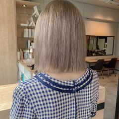 ベージュ ナチュラル 透明感カラー ボブ ヘアスタイルや髪型の写真・画像