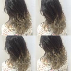 ストリート セミロング グラデーションカラー ゆるふわ ヘアスタイルや髪型の写真・画像