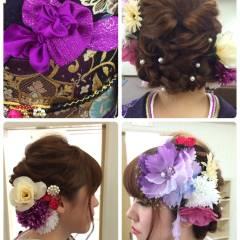 和装 編み込み モテ髪 コンサバ ヘアスタイルや髪型の写真・画像