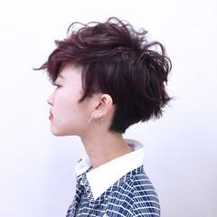 ストレート ショート ピンク レッド ヘアスタイルや髪型の写真・画像