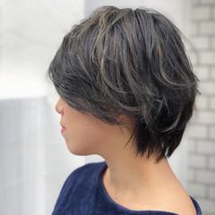 ハイライト 透明感 ナチュラル ショート ヘアスタイルや髪型の写真・画像
