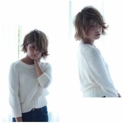 外国人風 シースルーバング グラデーションカラー ボブ ヘアスタイルや髪型の写真・画像