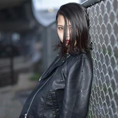 ストリート ボブ 暗髪 ウェットヘア ヘアスタイルや髪型の写真・画像