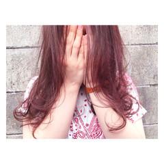 ピンク ラベンダーピンク ストリート 透明感 ヘアスタイルや髪型の写真・画像