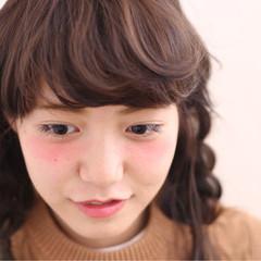 アッシュ ヘアアレンジ セミロング ハイライト ヘアスタイルや髪型の写真・画像