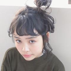 ナチュラル ショート 簡単ヘアアレンジ 暗髪 ヘアスタイルや髪型の写真・画像