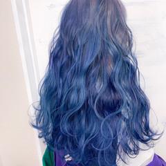 ガーリー ネイビーブルー ロング ブルーグラデーション ヘアスタイルや髪型の写真・画像