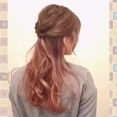 ハーフアップ ヘアアレンジ セルフヘアアレンジ ショート ヘアスタイルや髪型の写真・画像